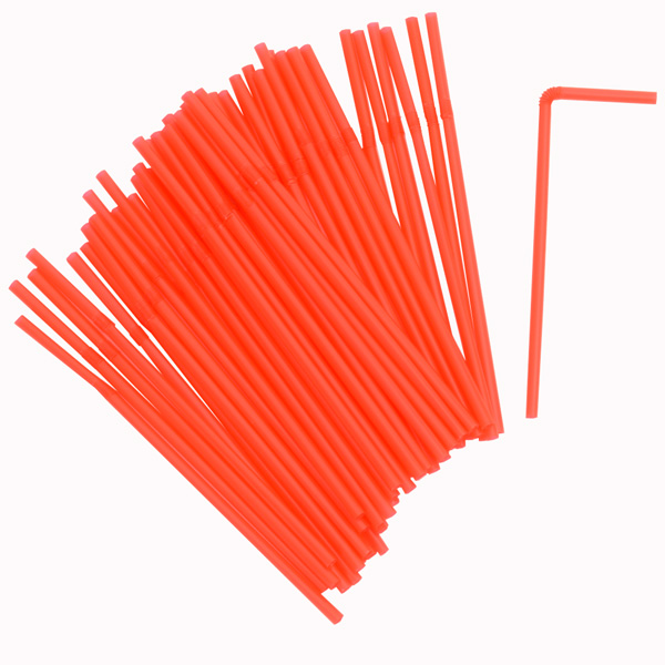 50 Plastic Flexible Straws Red