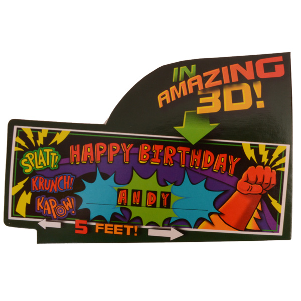 3D Superhero Fun Banner and Stickers