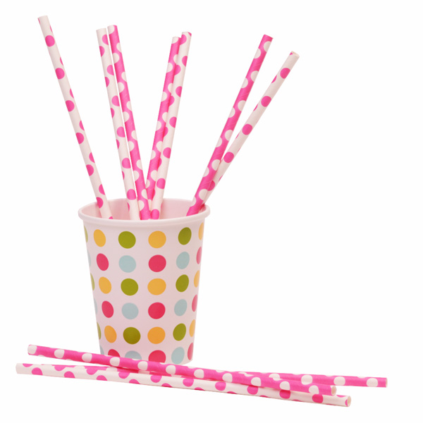 Pink and White Spotty Paper Straws