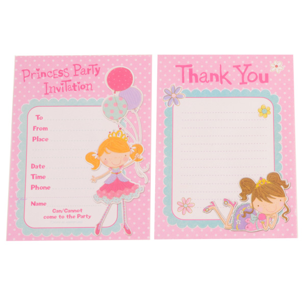 Princess Party Invites and Thankyou cards