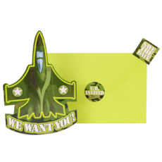 Camoflage Party Shaped Invitations