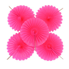 Pack of 5 Hot Pink Fan Decorations
